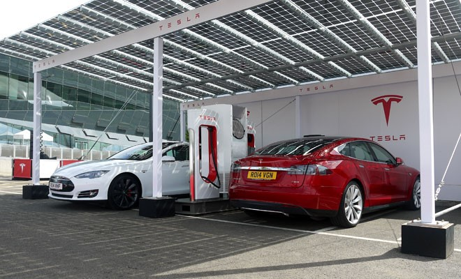 Beyond rail: Tesla supercharger station
