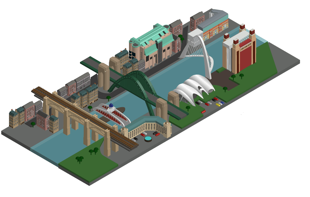 Isometric illustration of the river Tyne