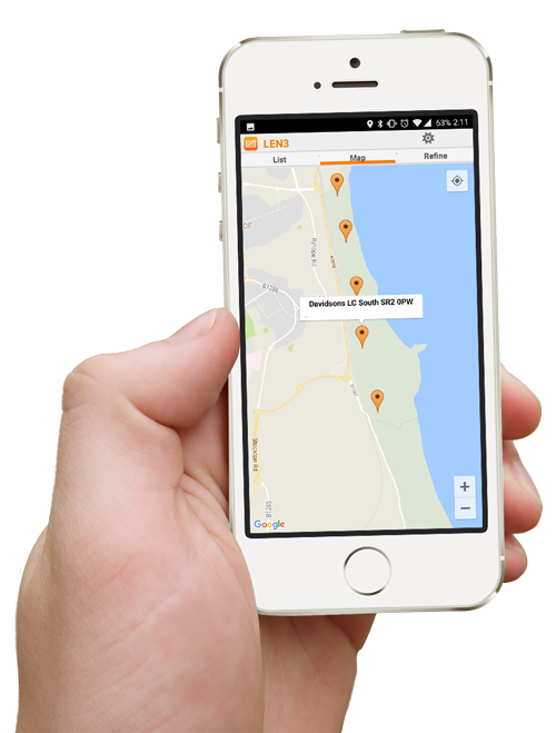 Hand holding smartphone showing access points app map view