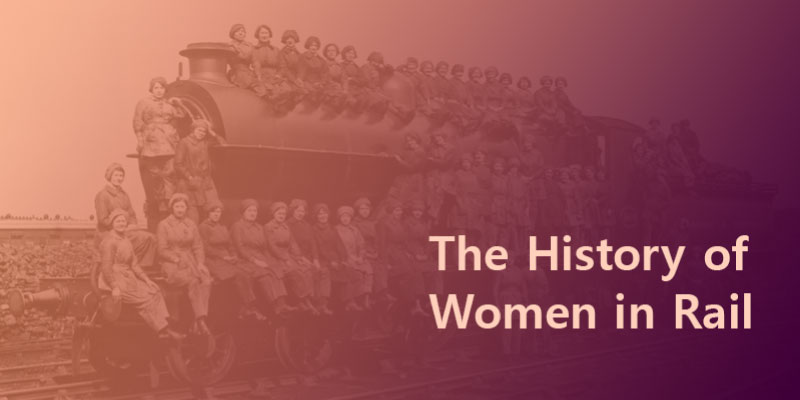 The history of women in rail blog header showing a group of women sitting on an old steam train