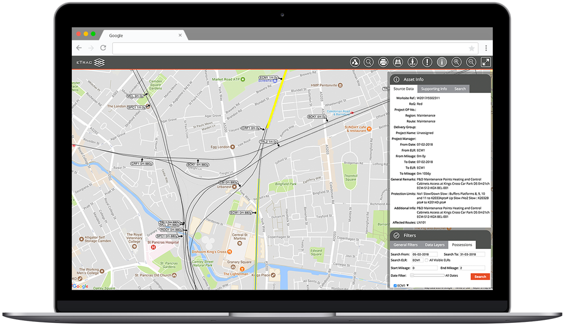 etrac-gis asset info screenshot