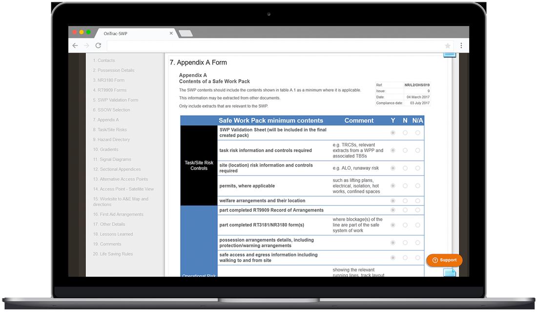 Screenshot of safe work pack form